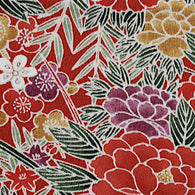 "Many Reds Floral Chirimen Crepe Kimono Silk Pieces, 6.5"" x 56""    # 3872"