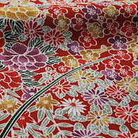 "Many Reds Floral Chirimen Crepe Kimono Silk Pieces, 14"" x 39""  # 3872"
