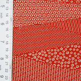"Red/Off-White Faux Patchwork Dot-Print Kimono Silk, 13.75"" x 38""  #4033"