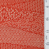 "Red/Off-White Faux Patchwork Dot-Print Kimono Silk, 13.75"" x 62""  #4033"
