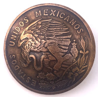 Diez Centavos Eagle & Snake Coin Concho Button, Bronze Copper 7/8""