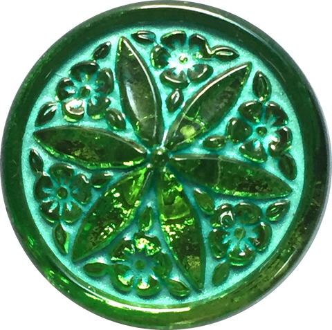 "Green Emerald Starfish Czech Glass Button 3/4""  18mm"