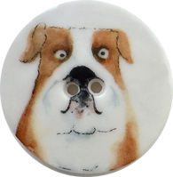 Bulldog Porcelain Dog Button by Kate Holliday