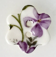 Violet Flower-Shaped Small Porcelain Button, 3/4""