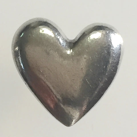 Pewter Heart Button 5/8""