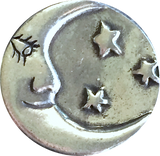 Crescent Moon w. Face & Stars Pewter Button 7/8""