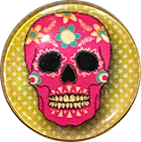 "Vibrant Sugar Skulls 1"" Sparkly Clear Domed Button 3 styles"