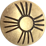 "Small Pale Gold Brass Zia Sun Button 1/2""  #SW-88"