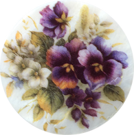 Purple Pansies on Mother of Pearl Button, 1-3/8""
