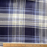 Navy / Black / Gray Soft Drapey Rayon Plaid Designer End by the yard #38-3258