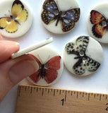 "Butterfly #5, 15/16"" Black & White, Red/Brown Spots Porcelain Button"
