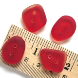 "Red Tumbled Silky Glass ""Seaglass"" Button, 1/2"" - 3/4"""