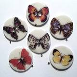 "15/16"" Black Yellow Blue White Spots, Butterfly #3, Porcelain Button"