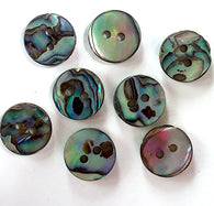 "1/2"" Small Greens & Blues Vivid Abalone 2-hole, $1.20 each  #0033"
