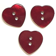 "Dark Red Wine Heart Button, 5/8"" Shell."