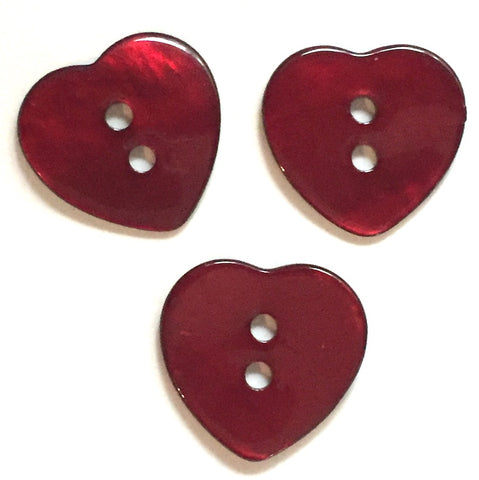 "Heart Button in Dark Red Shell, 5/8"". $1.80 each"
