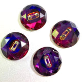 "Purple/Orange Swarovski Button, 5/8""  Round, Crystal Volcano"