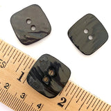 "Darkest Brown-Black Square Shell Button 3/4""  Pack of 7, #23-68"