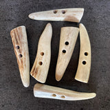 "White Pointed Antler Tip Toggle Buttons 2""   #SW-200"