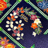 "Flowers in Diamonds on Navy Jacquard, Kimono Silk Piece 7"" x 55""  #3837"