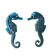 "Two Blue Seahorse Buttons, 7/8"" Enamel Metal"