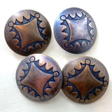 "Four Directions Dark Rustic Brass ""Aged"" Concho Button 7/8""  #SW-18"