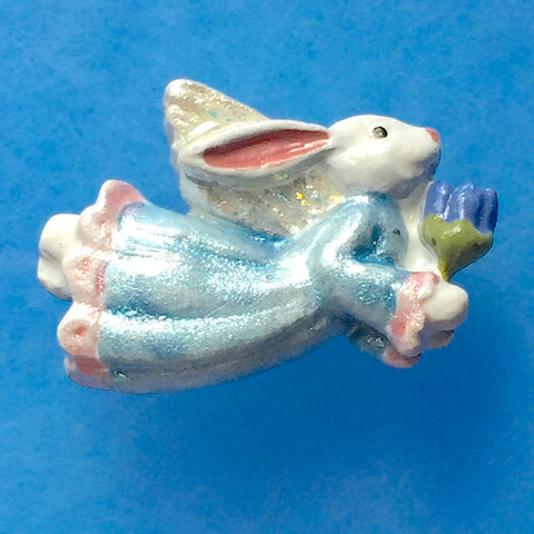 "Angel Bunny Rabbit Button, Blue or Pink, 7/8"" Sculpted"
