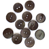 "Dark Chocolate Shiny Agoya Shell 2-Hole Button Small Size 1/2""  #1230"