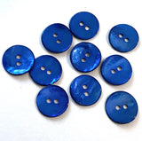 "Royal Blue Shiny Agoya Shell Button, 5/8"" or 3/4"""