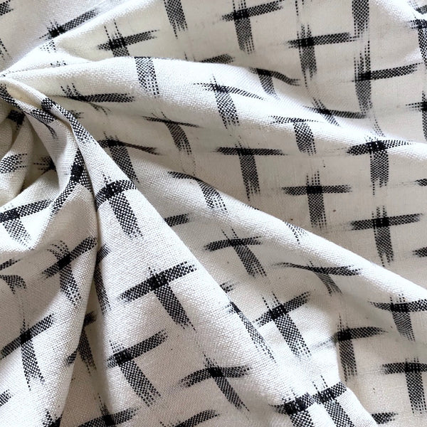 Cream/Black Cotton Crosses Ikat, by the Yard #IND19