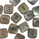 "Rustic Charcoal Gray ""Smoky Squares"" Shell Buttons, Pack of 9,  3/4"""