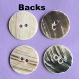 "Quite White 13/16"" Two-Hole Shell Button, 3/4"", 3 for $2.75"
