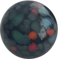 Black / Teal Spots Vintage Glass Buttons, Japan #GL308 SALE $1.00