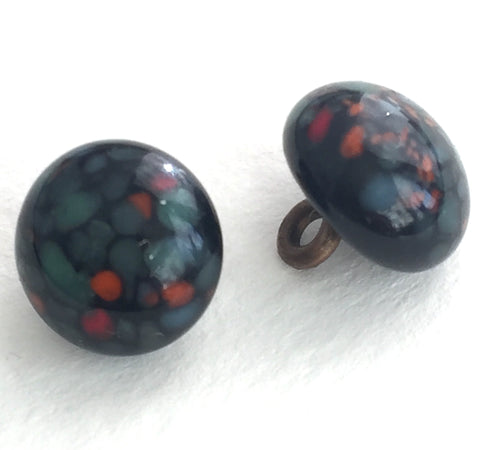 Black + Soft Teal Spots Vintage Glass Buttons, Japan #GL 308