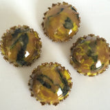 "Yellow and Brown Faux Stone 7/8"" Vintage Button #GL310 SALE 3 for $2.00"
