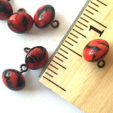 "Red and Black Lava Swirl Vintage Small Glass Button Small 5/16"" # GL314"
