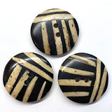 "Black/Tan Round Bamboo Divided Stripes 1"" Round"