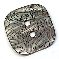 "Natural Gray Square Shell ""Rivulets"" Button 5/8"""