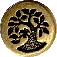 "Bird in Tree Button 1/2"" Antique Brass/Black   # 6583-27"