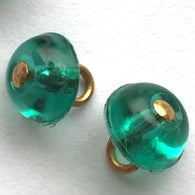 Emerald Green Tiny Vintage Glass, gold dot button # GL318