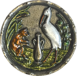 "Fox and Stork with Amphora 1-3/16"" Metal Button"