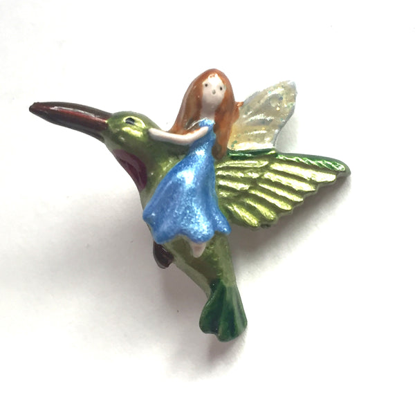 Hummingbird and Angel Button, 1""