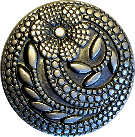 "Silver Flower Swirl Dots 15/16"" Shank Button  #SWC-24"