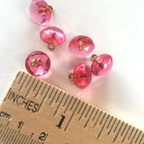 "Pink Vintage Buttons, 3/8"", Faceted Glass # GL 311, SALE"