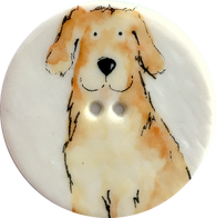"Labrador Dog Porcelain Button - 1-1/2"", Handmade Yellow Lab Button"