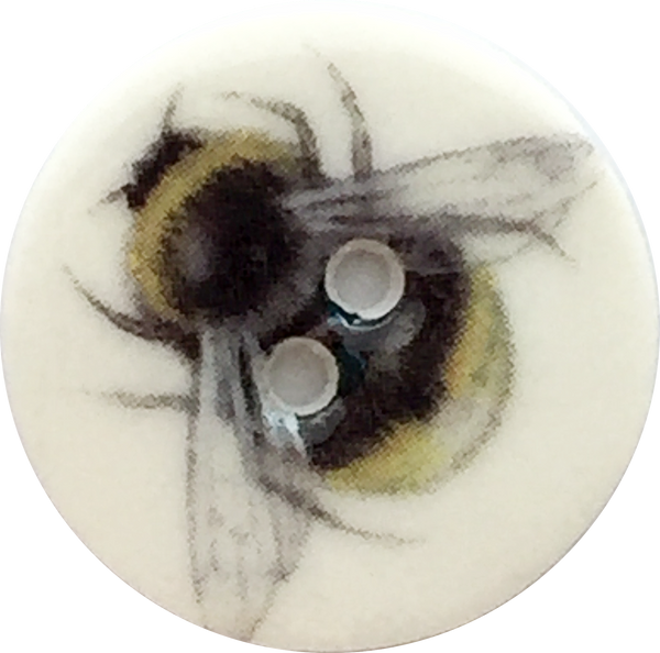 "Bumble Bee Porcelain Button, 5/8"" or 7/8"""