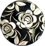 White Roses Etched on Black Shell Button, 3 sizes