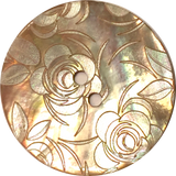 Golden Shell, White Roses Button, 2 sizes