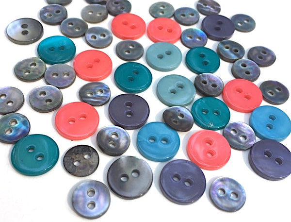 Bright Plus Gray Mix of 50 Small Shell Buttons, $3.90