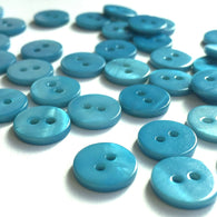 "Sky Blue Small Shell Button 7/16""  60¢ ea."